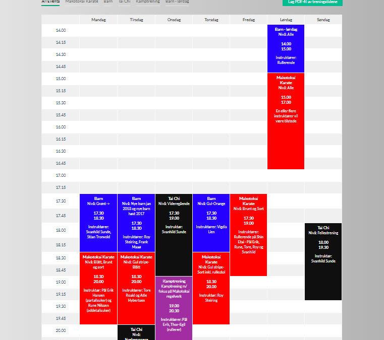 Endring i treningstidene på mandag og torsdag